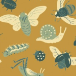 Birch Fabrics - Acorn Trail Canvas - Bugs Gold