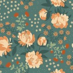 Birch Fabrics - Acorn Trail Canvas - Peonies Blue