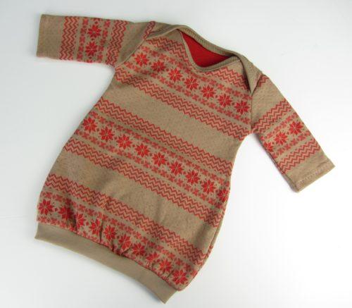 Baby Ballonkleid Norweger Stoff Beige Rot